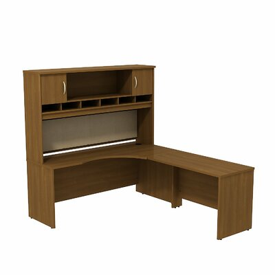Series C L Shaped Corner Desk with 2 Door Hutch Orientation: Right, Finish: Warm Oak/Warm Oak Product Photo 5812