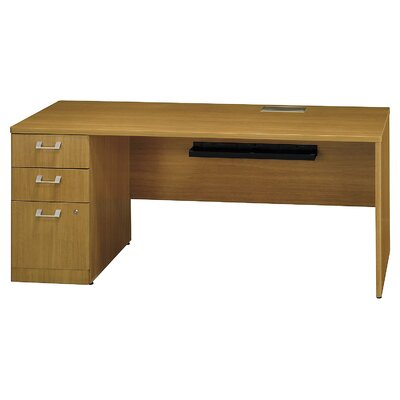 Quantum Single Pedestal Credenza Desk Orientation: Left, Finish: Modern Cherry Product Photo 851