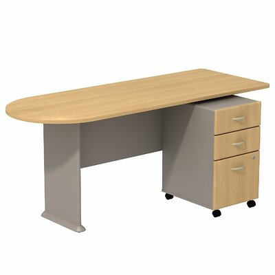 Series A 29.78 H x 71.18 W Desk Peninsula Finish: Light Oak/Sage