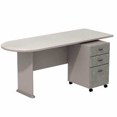 Series A 29.78 H x 71.18 W Desk Peninsula Finish: White Spectrum/Pewter