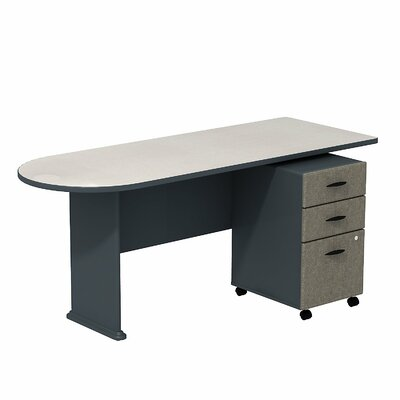 Series A Peninsula Desk with 3-Drawer Mobile Pedestal Finish: White Spectrum/Slate Product Image 4826