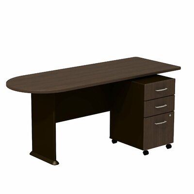 Series A 29.78 H x 71.18 W Desk Peninsula Finish: Sienna Walnut/Bronze