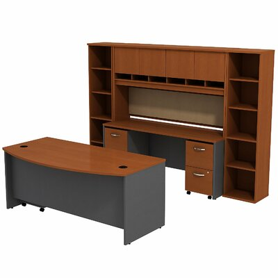 Series C Bow Front Desk Office Suite Finish: Auburn Maple/Graphite Gray Product Picture 2547