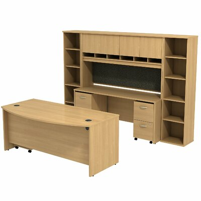 Series C Bow Front Desk Office Suite Finish: Light Oak/Light Oak Product Picture 2547