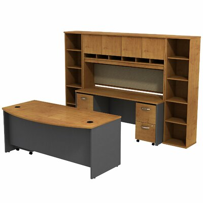 Series C Bow Front Desk Office Suite Finish: Natural Cherry/Graphite Gray Product Picture 6883