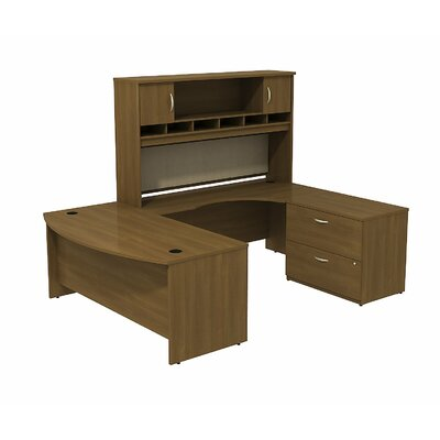 Series C Bowfront RH U-Desk with 2-DrawerDoor Hutch and 2-Drawer Lateral File Finish: Warm Oak/Warm Product Image 433