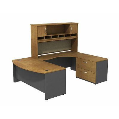 Bow Front U Shaped Desk Hutch Storage Product Picture 1158