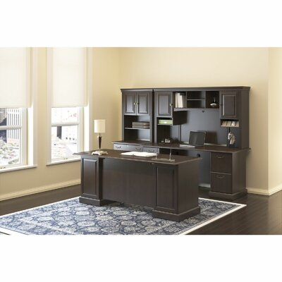 Bush Furniture Syndicate Double Pedestal Office Desk with Hutch - Finish: Mocha Cherry