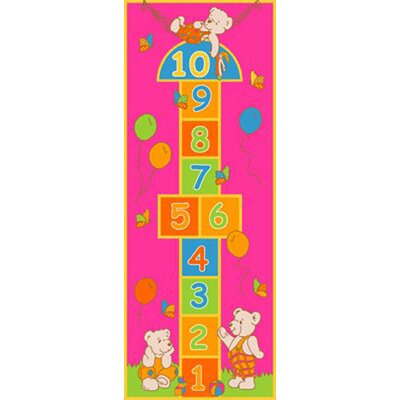 Playful Hopscotch Pink Area Rug