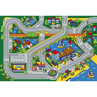 Harbor Map Gray Area Rug Rug Size: 5 x 7