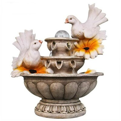 Resin Couple of Dove Resting on 3 Tier European Sculpture Tabletop Water Fountain SNF13162-4