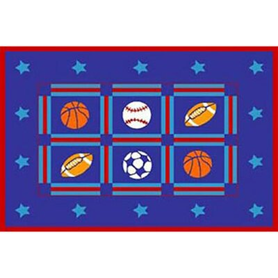 Kids Sports Blue/Red Area Rug