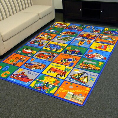 Kids Transportation Blue/Orange Area Rug