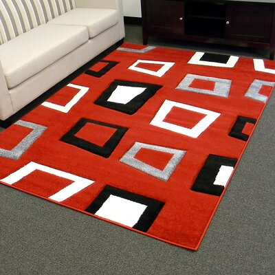 Hollywood Square Red/Black Area Rug