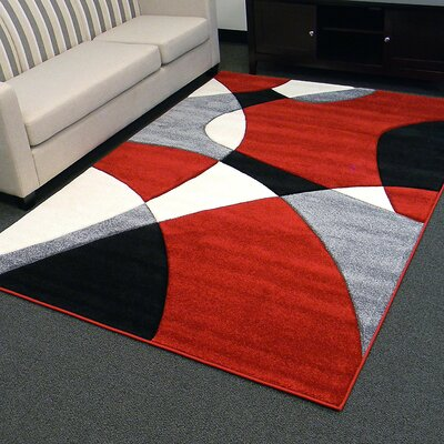 Hollywood Curvy Red/Gray Area Rug