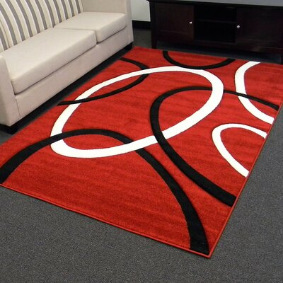 Hollywood Circle Red/Black Area Rug