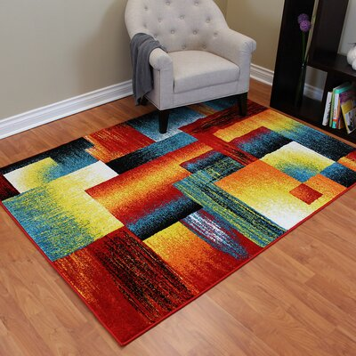 Rainbow Square Red/Blue Area Rug