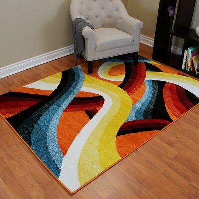 Rainbow Curvy Red/Yellow Area Rug
