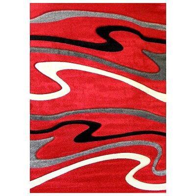 Studio Signature Wave Red/Black Area Rug