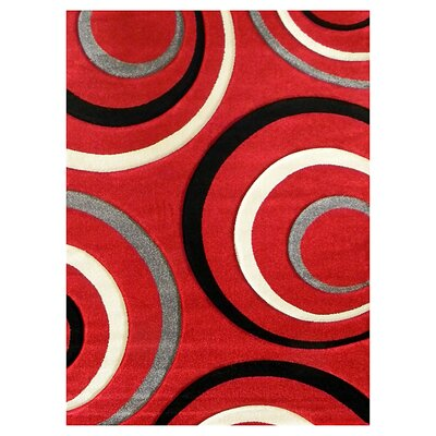 Studio Circle Red/Black Area Rug