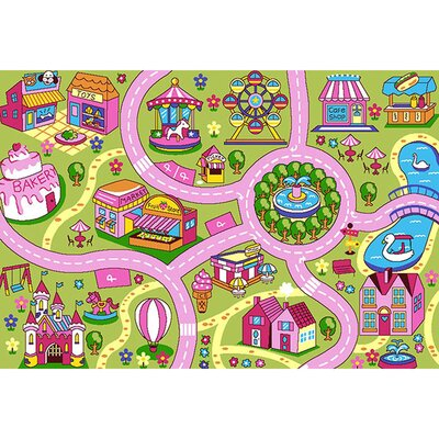 Haberman Fun Land Children Pink/Green Area Rug