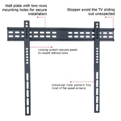 """TygerClaw Slim Low Profile Universal Wall Mount for 37""""-63"""" Flat Panel Screens LCD1008BLK"""