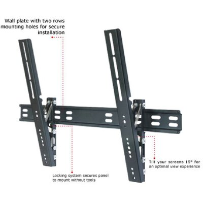 TygerClaw Ultra Slim Tilt Universal Wall Mount for 32-63 Flat Panel Screens