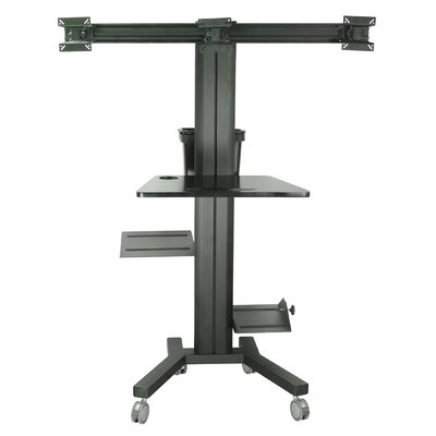 Tyger Claw Mobile PC Cart Height Adjustable Universal 3 Screen Desk Mount