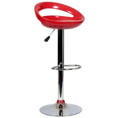 Tygerclaw Adjustable Height Swivel Bar Stool Upholstery: Red