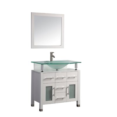 Beliza 36 Single Sink Bathroom Vanity Set with Mirror Base Finish: White