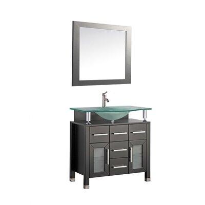 Beliza 40 Single Sink Bathroom Vanity Set with Mirror Base Finish: Espresso