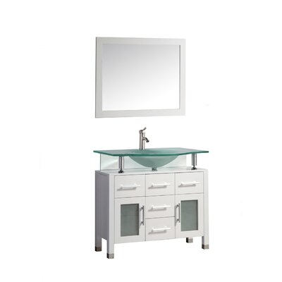 Beliza 40 Single Sink Bathroom Vanity Set with Mirror Base Finish: White