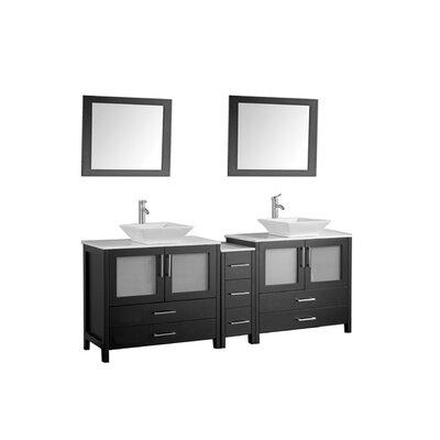 Jordan 72 Double Sink Bathroom Vanity Set with Mirrors Base Finish: Espresso