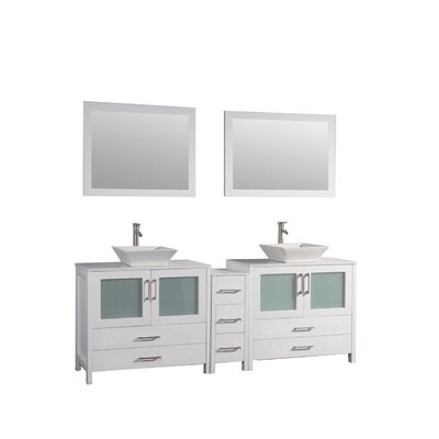 Jordan 72 Double Sink Bathroom Vanity Set with Mirrors Base Finish: White