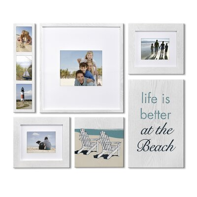 Beyond Words 6 Piece Coastal Wood Picture Frame Set