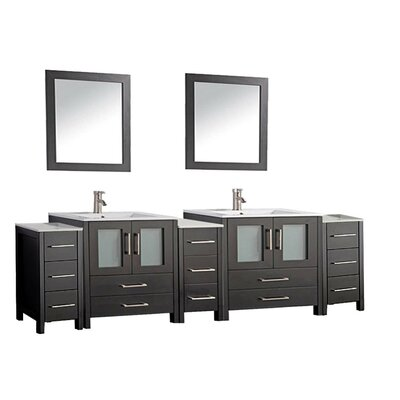 Argentina 108 Double Sink Bathroom Vanity Set with Mirror Finish: Espresso