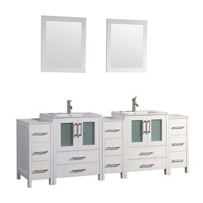 Larosa 96 Double Sink Bathroom Vanity Set with Mirror Finish: White