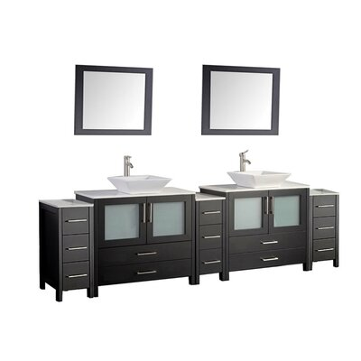 Jordan 96 Double Sink Bathroom Vanity Set with Mirror Finish: Espresso