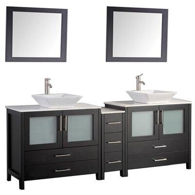 Jordan 60 Double Sink Bathroom Vanity Set with Mirror Base Finish: Espresso