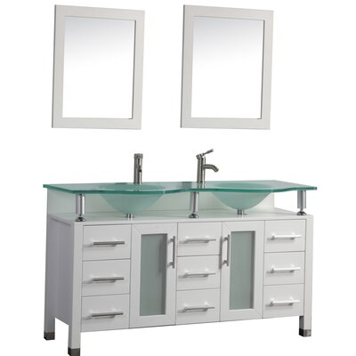Beliza 60 Double Sink Bathroom Vanity Set with Mirror