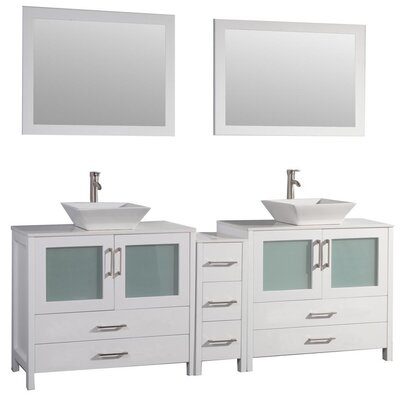 Jordan 60 Double Sink Bathroom Vanity Set with Mirror Base Finish: White