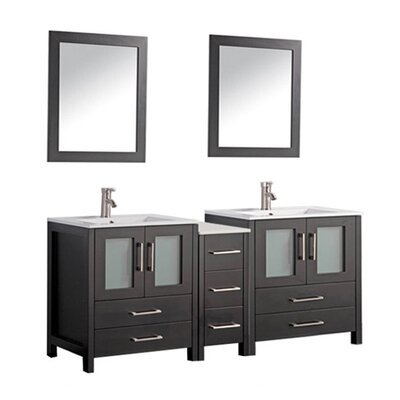 Argentina 60 Double Sink Bathroom Vanity Set with Mirror Base Finish: Espresso
