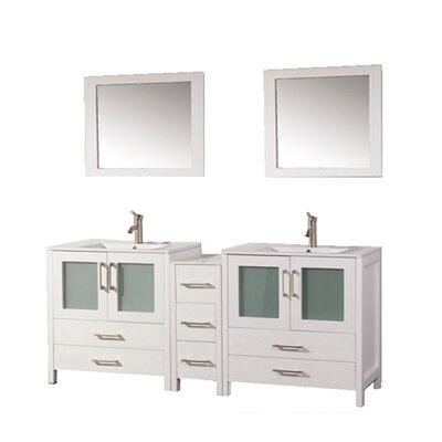 Argentina 60 Double Sink Bathroom Vanity Set with Mirror Base Finish: White