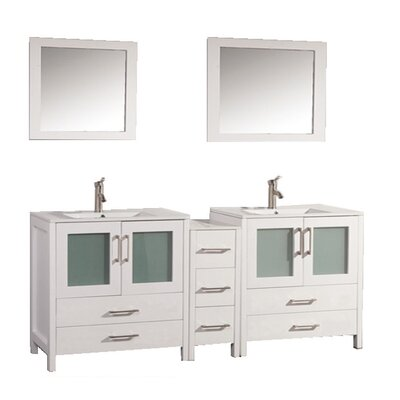 Argentina 72 Double Sink Bathroom Vanity Set with Mirror Base Finish: White