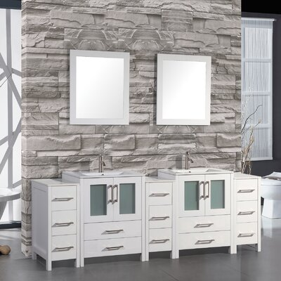 Argentina 108 Double Sink Bathroom Vanity Set with Mirror Finish: White