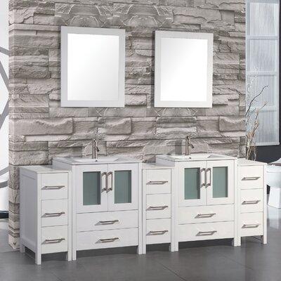 Argentina 96 Double Sink Bathroom Vanity Set with Mirror Finish: White