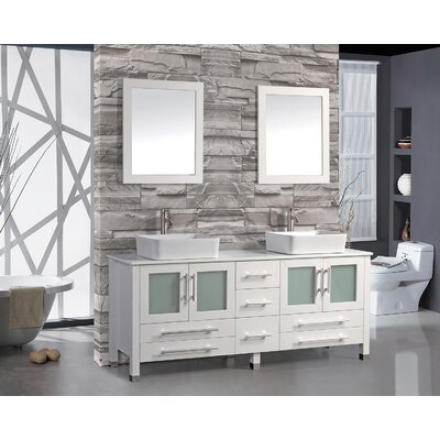 Bosarge 61 Double Bathroom Vanity Set with Mirror Base Finish: White
