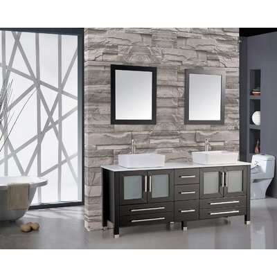 Bosarge 61 Double Bathroom Vanity Set with Mirror Base Finish: Espresso