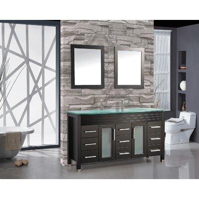 Prall 71 Double Sink Bathroom Vanity Set with Mirror Base Finish: Espresso