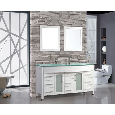 Prall 71 Double Sink Bathroom Vanity Set with Mirror Base Finish: White